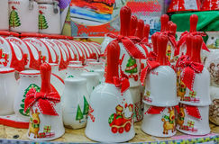 Hand made decorations at market for Christmas month Royalty Free Stock Photo