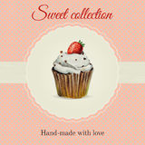 Hand-made desserts flyer template with watercolor. Hand-made desserts flyer template  with watercolor strawberry cupcake illustration and typographic in retro Royalty Free Stock Image