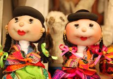 Hand made dolls for sale. Two hand made dolls are for sale at the market in the city of La Paz, Bolivia stock photo