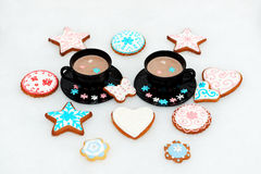 The hand-made eatable gingerbread cookies Stock Photography