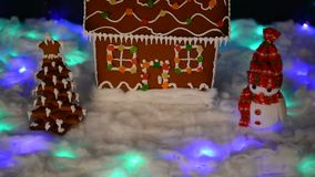 The hand-made eatable gingerbread house, snowman, snow decoration stock video