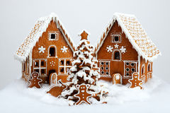 The hand-made eatable gingerbread houses Stock Photos