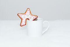 The hand-made eatable gingerbread star cookie Royalty Free Stock Image