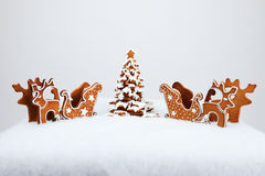 The hand-made eatable reindeer and cart Royalty Free Stock Photo