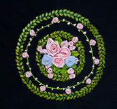 Hand Made Embroidery And Cross-Stitch Flower Design Royalty Free Stock Images