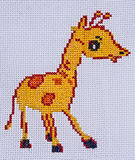 Hand Made Embroidery And Cross-Stitch Giraffe