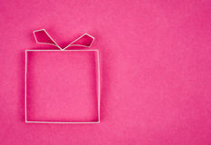 Hand made empty gift box, textured paper as background. stock photography
