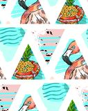 Hand made Exotic seamless pattern with tropical leaves,pineapple and pink flamingo on abstract geometric isolated on. Triangular background. Vector fabric Stock Photography