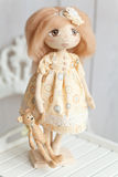 Hand made fabric doll Stock Photo