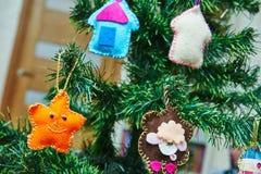 Hand made felt Christmas tree decoration Royalty Free Stock Photography