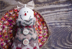 Hand made felt snowman. Christmas decoration. Christmas toys. Vintage style. Royalty Free Stock Image