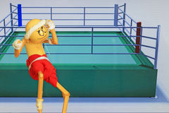 Hand made figure imitating thailand boxer muay thai Stock Photo