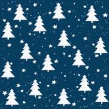 Hand made fir tree stars snow vector pattern.. Hand made fir tree stars snow vector pattern. Happy New Year and christmas holidays background card Stock Image
