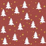 Hand made fir tree stars snow vector pattern.. Happy New Year and christmas holidays background card Stock Photography
