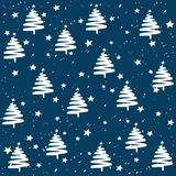 Hand made fir tree stars snow vector pattern. Happy New Year and christmas holidays background banner. Hand made fir tree stars snow vector pattern. Happy New Royalty Free Stock Photos