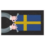 Hand made flag of Sweden. Royalty Free Stock Photos