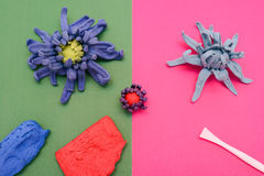 Hand made flower with materials and tools Stock Image