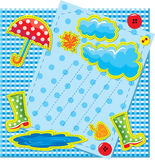 Hand made frame in autumn style. With rain, clouds, puddle, rubber boots and umbrella - is made of polka dot and chequered fabric Royalty Free Stock Image