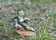Hand made frog in the grass Royalty Free Stock Images