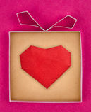 Hand made gift box with heart inside Stock Photo