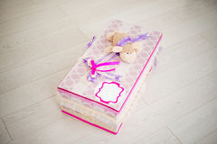 Hand made gift box with a sheep on top Royalty Free Stock Photo