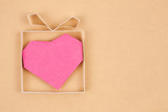 Hand Made Gift Box With Heart Inside Stock Image