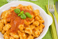 Hand-made gnocchi with sauce Sorrento Royalty Free Stock Images
