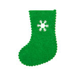 Hand made green christmas sock with snow cut out Royalty Free Stock Image