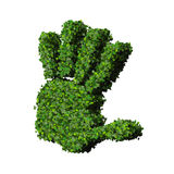 Hand made from green leaves. Beautiful graphic made of green leaves on gradient background Royalty Free Stock Photography