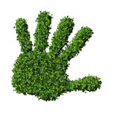 Hand made from green leaves. Beautiful graphic made of green leaves on gradient background Stock Photo