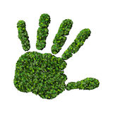 Hand made from green leaves. Royalty Free Stock Images