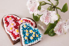 Hand made heart cookies Stock Images