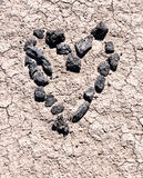 Hand made heart in the desert Royalty Free Stock Photos