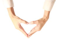 Hand made heart shape. Isolated on white background Royalty Free Stock Image