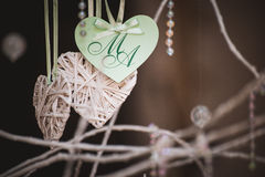 Hand made heart shaped card with letters Royalty Free Stock Photo