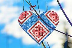 Hand made heart in the style of Ukrainian vyshyvanka Royalty Free Stock Photos