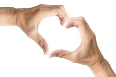 Hand made heart symbol on white background. Royalty Free Stock Photo