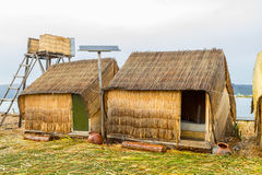 Hand made houses in Uros, Peru, South America. Stock Photos