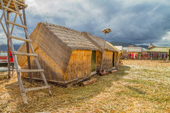 Hand made houses in Uros, Peru, South America. Stock Image