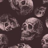 Hand made human skull bone cranium face retro grunge vintage seamless pattern backound Stock Images