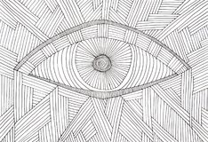 Illustration of an eye, made of many black parallel lines. Hand made illustration of an eye, made of many black parallel lines and concentric circles, on white Royalty Free Stock Images