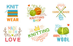 Hand Made Knit Logo Set Royalty Free Stock Photo