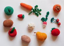 Hand-made knitted fruit and vegetables Royalty Free Stock Photo
