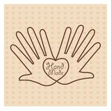 Hand Made label, handmade crafts workshop. Vector illustration Stock Photos
