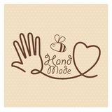 Hand Made label, handmade crafts workshop. Vector illustration Stock Image