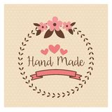 Hand Made label, handmade crafts workshop. Vector illustration Stock Photography