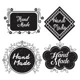 Hand made labels monochrome icon Stock Images