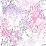 Hand made lace iris flowers seamless pattern Royalty Free Stock Photos
