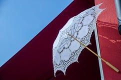 Hand made lace umbrella, Burano Island royalty free stock photography