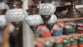 Hand made lanterns with painted glass to turkish market stock footage